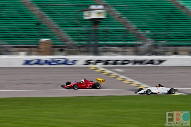 The #30 Formula Mazda of James  Wright and the #5 Formula Continental of Brandon Dixon crossing the Start/Finish line at the Kansas Speedway.