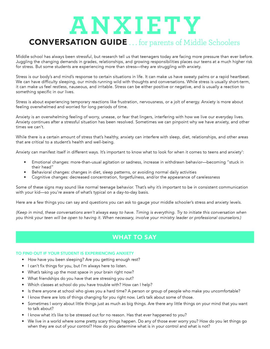 Anxiety Conversation Guides (for MS & HS) - Parent Cue