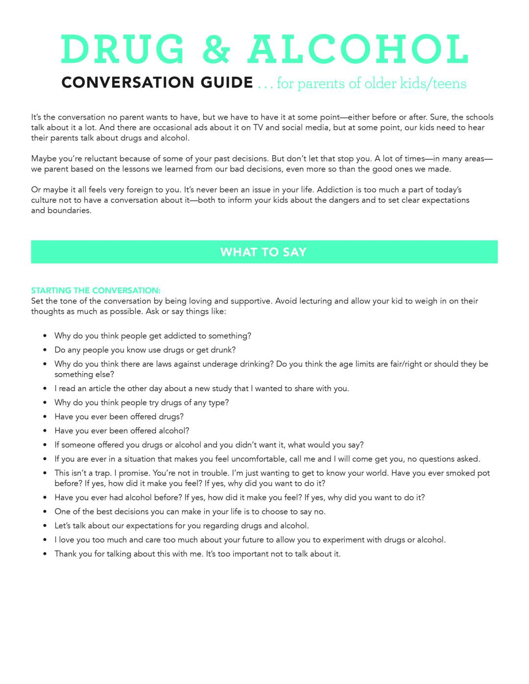 How To Start The Conversation About Drug Use >> Drug Alcohol Conversation Guide Parent Cue