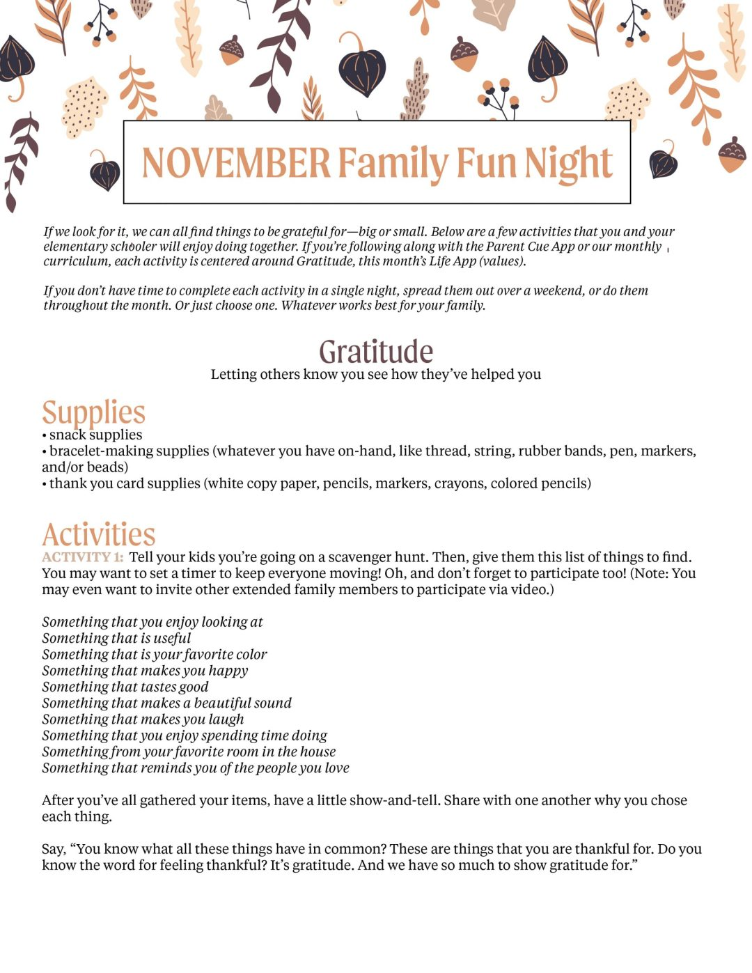October Family Challenge Preview