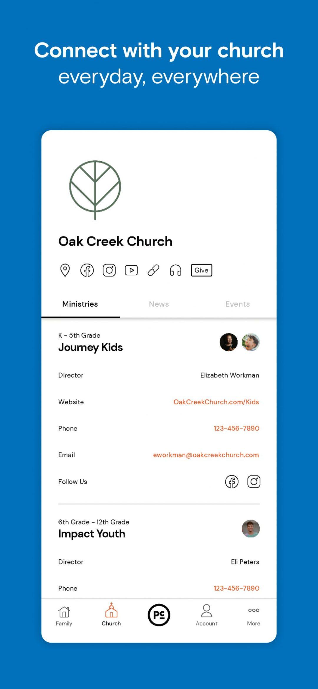 Parent Cue App - Church Page