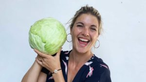 Abbey holding a large cabbage
