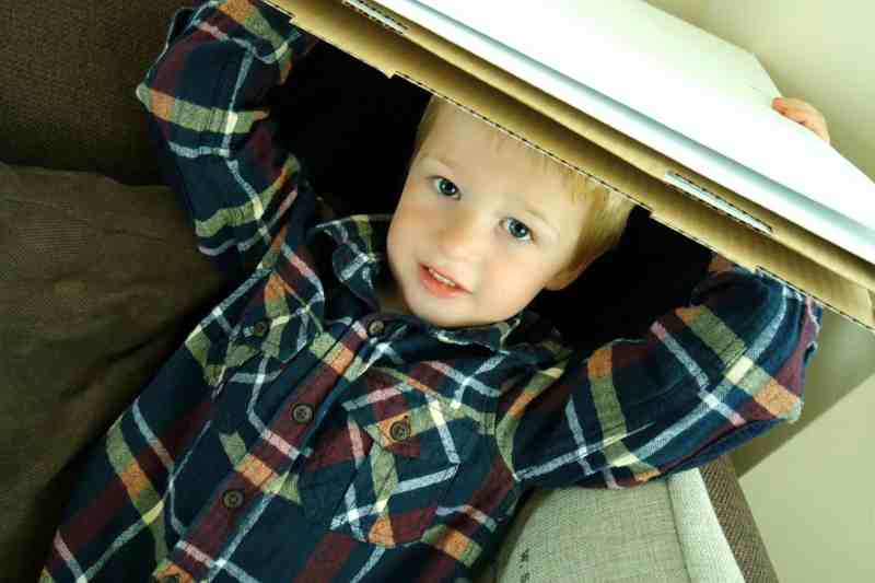 Blond haired boy age four playing with cardboard box