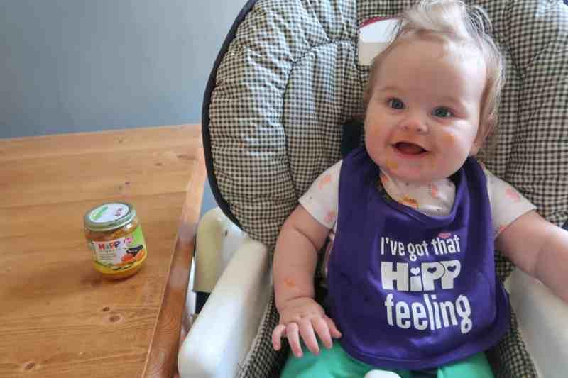 Baby wearing Hipp purple bib