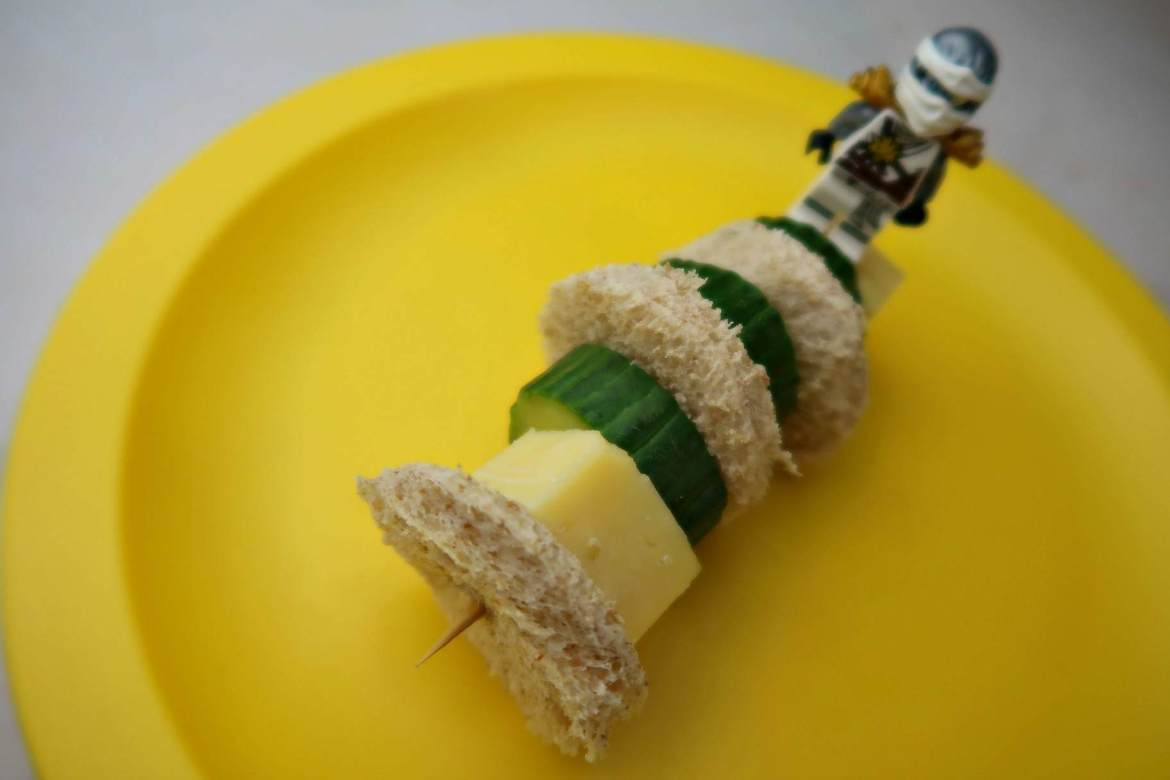 Sandwich kebab with bread, cheese and cucumber