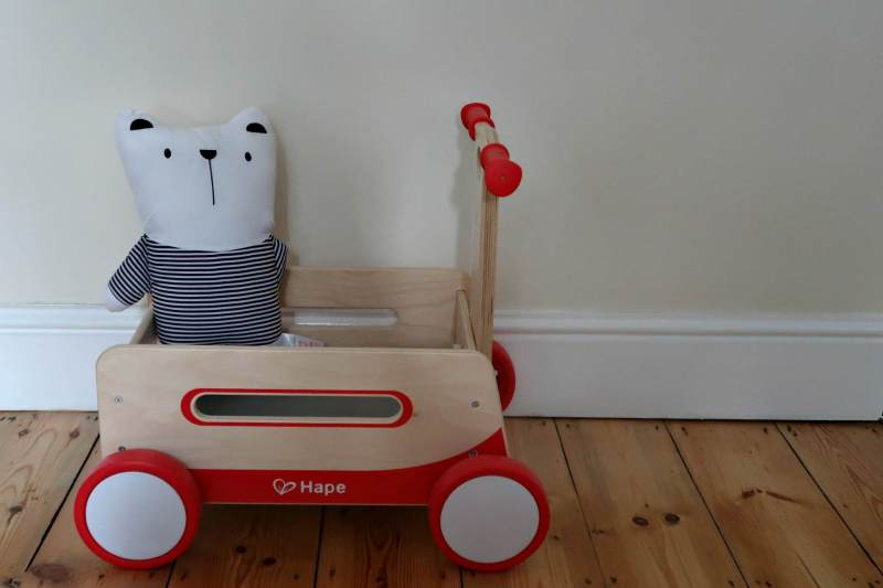 sustainable wooden childrens wagon with teddy in