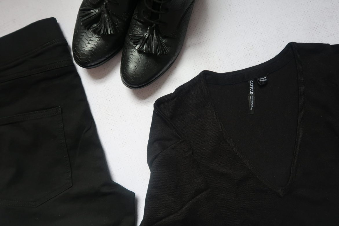 Overhaul Your Wardrobe ? Flatlay black boots, jumper and jeans.