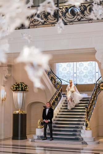 Elope to Paris - The Peninsula Paris wedding venue beautiful staircase