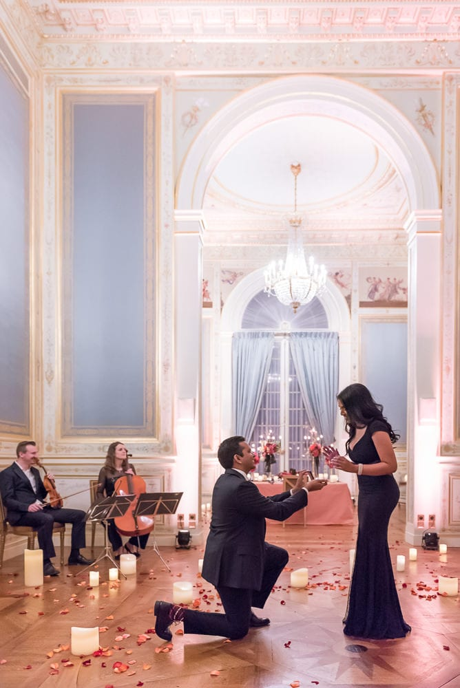 paris proposal in an intimate setting with musicians - she said yes