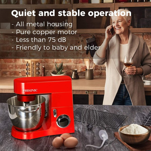 PHISINIC Stand Mixer for Baking - Red