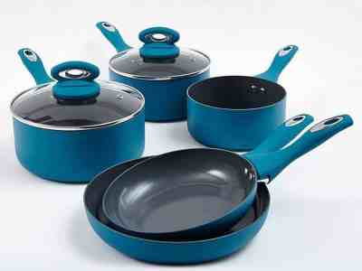 Cermalon 5-Piece Teal Ceramic Non-Stick Pan Set