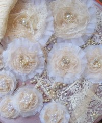 shabby chic inspired lace and pearls flower brooch