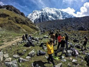 Taking a snack break before the final ascent through the Salkantay Pass.