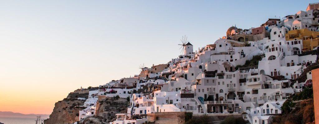 sunset at oia santorini greece