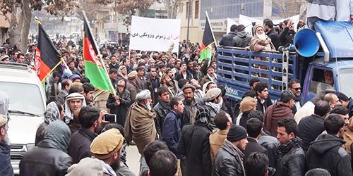 Large protest outside Pakistan embassy in Kabul