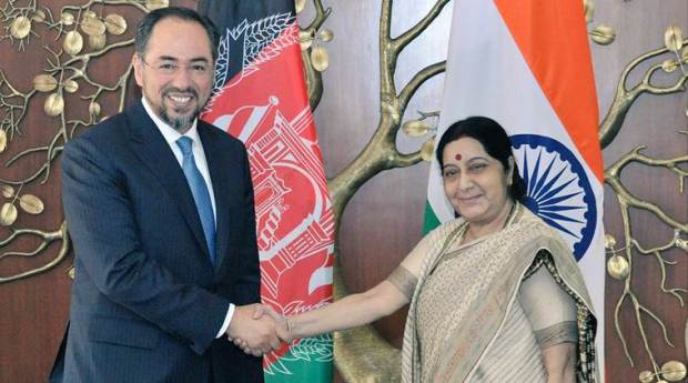 External Affairs Minister Sushma Swaraj met Afghan counterpart Salahuddin Rabbani in Delhi on Monday. (Source: Twitter/MEA Spokesperson Raveesh Kumar )