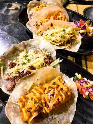 Fish Taco & Barbacoa Taco at Maybe Later Mexican Bar & Grill