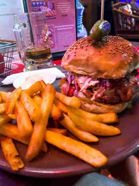 JB's Sloppy Joe Burger with Beer at Jungle Bar Sports Bar & Bistro