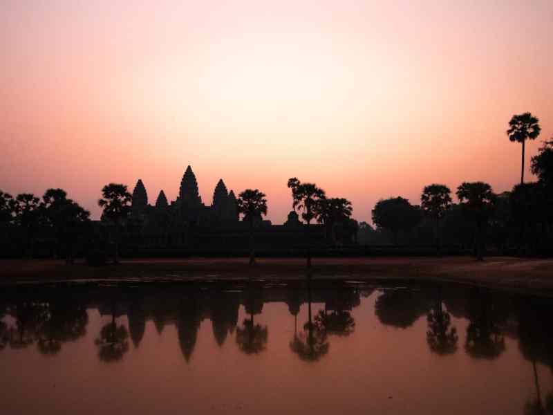 Angkor Wat over the lake at sunrise