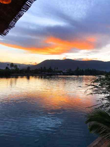 Sunset over View of Preaek Tuek Chhu River at Sabay Beach