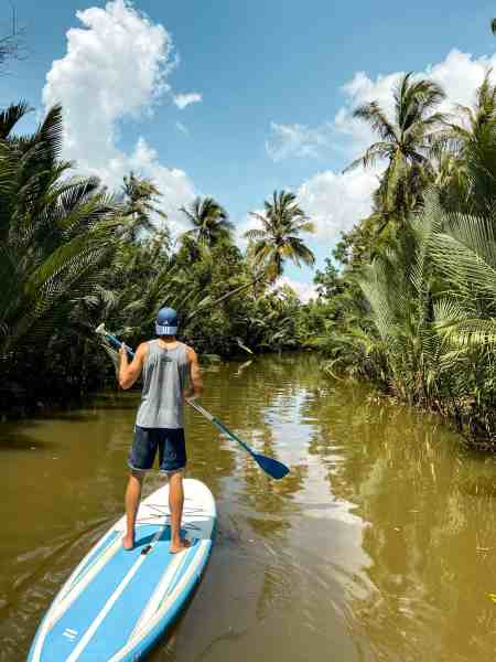 Nate on SUP for Exercise in Kampot, Cambodia