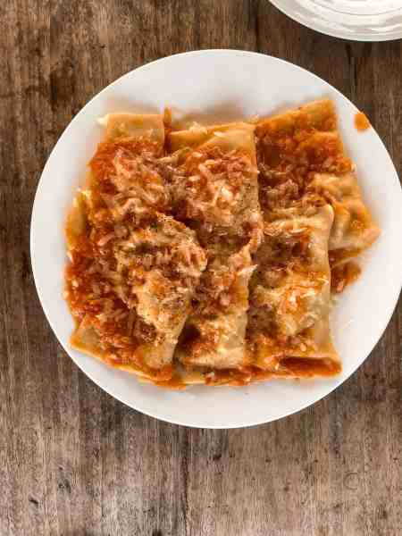 Ravioli with pork and tomato and mozzarella sauce at Ciao