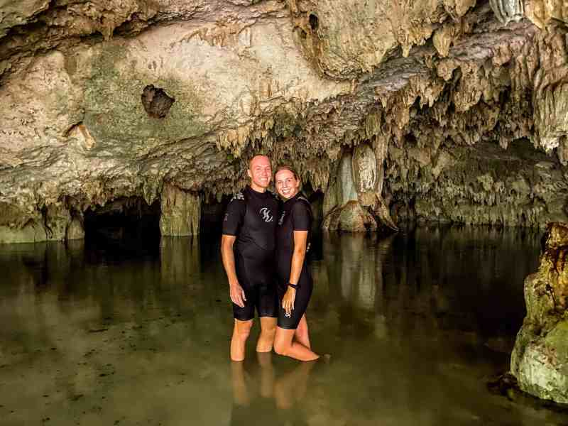 Alicia & Nate in Sistema Sac Actun on Private Cenote Tour