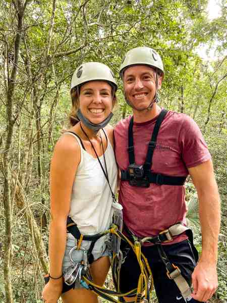 Alicia & Nate in Zip Line Gear on Adventure Tour