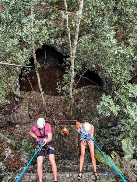 Alicia & Nate Repelling Wall on Adventure Tour