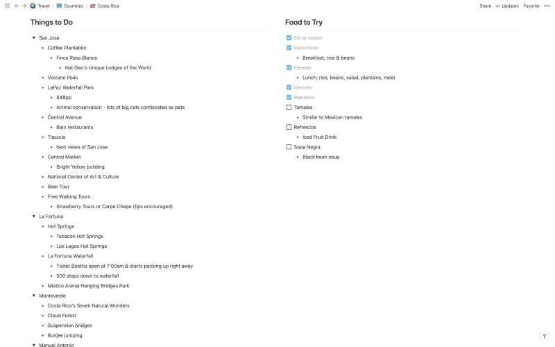 Screenshot of Things to Do for Costa Rica from The Passport Couple Travel Itinerary