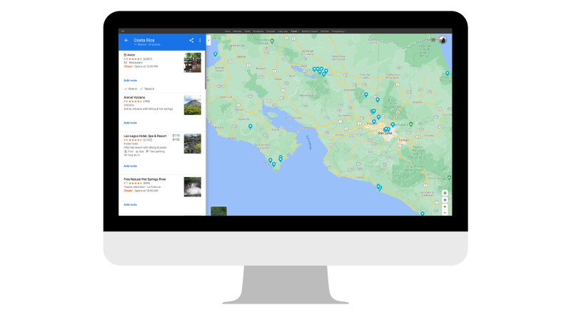Google Maps screenshot for Costa Rica
