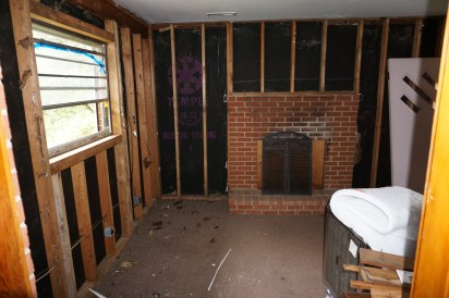 after demo of wall between old kitchen and den