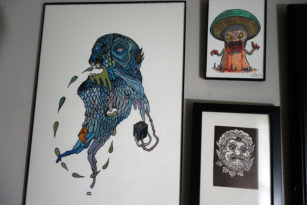On the left is the drippy beautiful work by Tedd Anderson​, then top right is and evil mushroom by Sam Moore out of New Zealand and bottom right another friend and local print maker Raj Bunnag (check out his bigger pieces, just incredible)