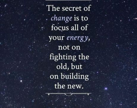 quote about change written on universe as background