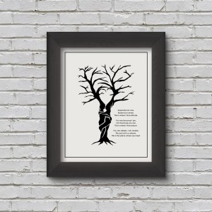 barren tree in the shape of man and woman embracing each other