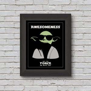picture frame of yoda wearing shades