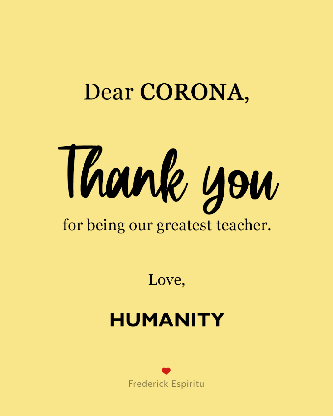 thank you corona love letter