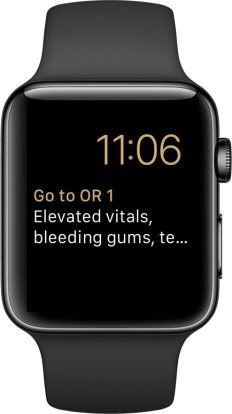 The modular watch complication displays the room name and 2 lines of patient notes