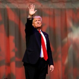 Republican presidential candidate Donald Trump waves a rally at The Palladium in Carmel, Ind., Monday, May 2, 2016. (AP Photo/Michael Conroy)