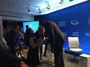 Ksenija Pavlovic, Founder of The Pavlovic Today, talks to James Collins at the Annual Meeting of the Clinton Global Initiative in New York City[
