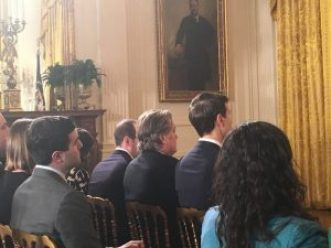 Steve Bannon and the members of the Trump's cabinet at the White House press conference