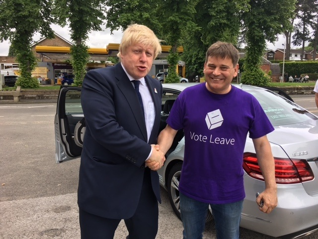 Andrew Bridgen and Boris Johnson during the Leave EU campaign