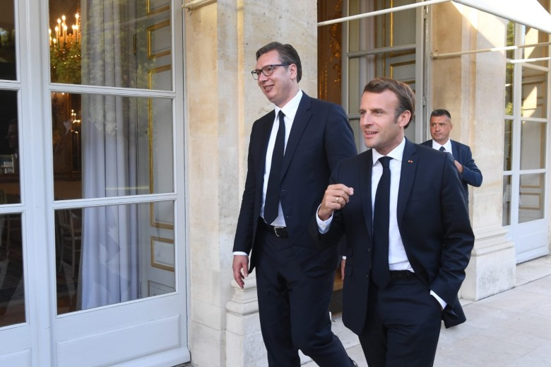 Serbian President Vucic and French President Macron