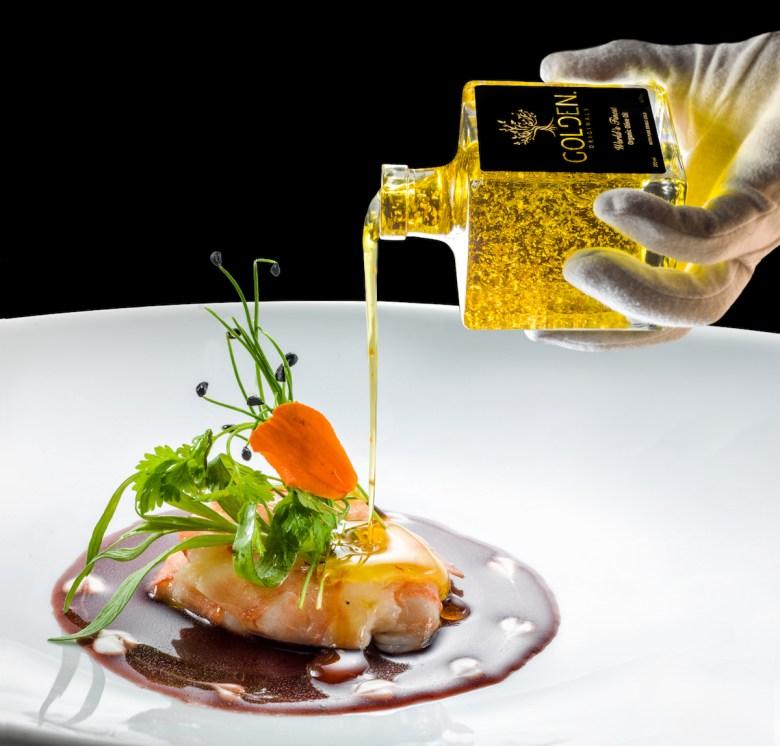 Golden dish by Michelin Star Chef Mario Gamba