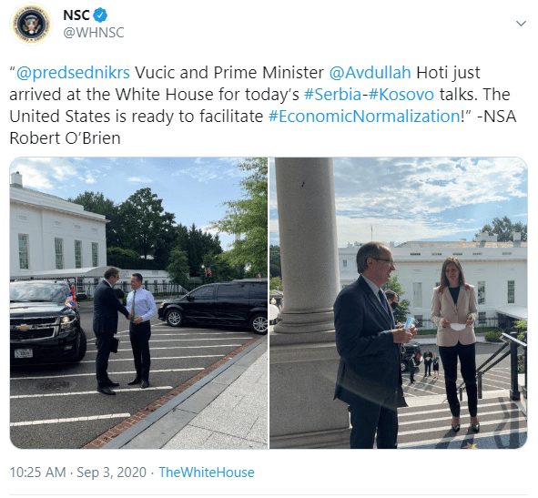 Arrival of  President Vucic and PM Hoti at the White House
