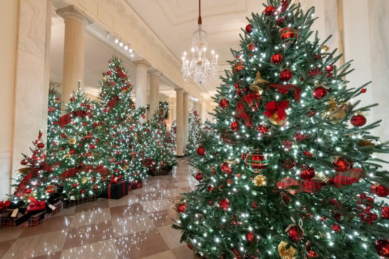 The Cross Hall of the White House is decorated for the Christmas season Sunday, Nov. 29, 2020. (Photo by Andrea Hanks)