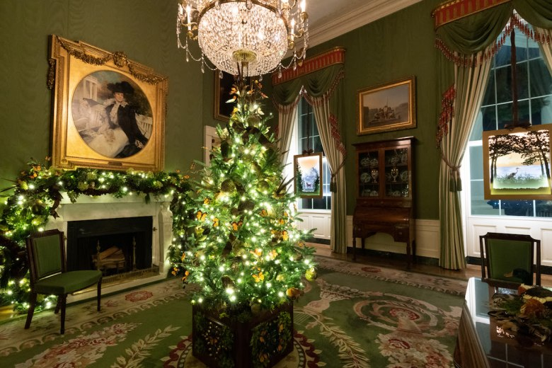 The Green Room of the White House is decorated for the Christmas season Sunday, Nov. 29, 2020. (Photo by Andrea Hanks)