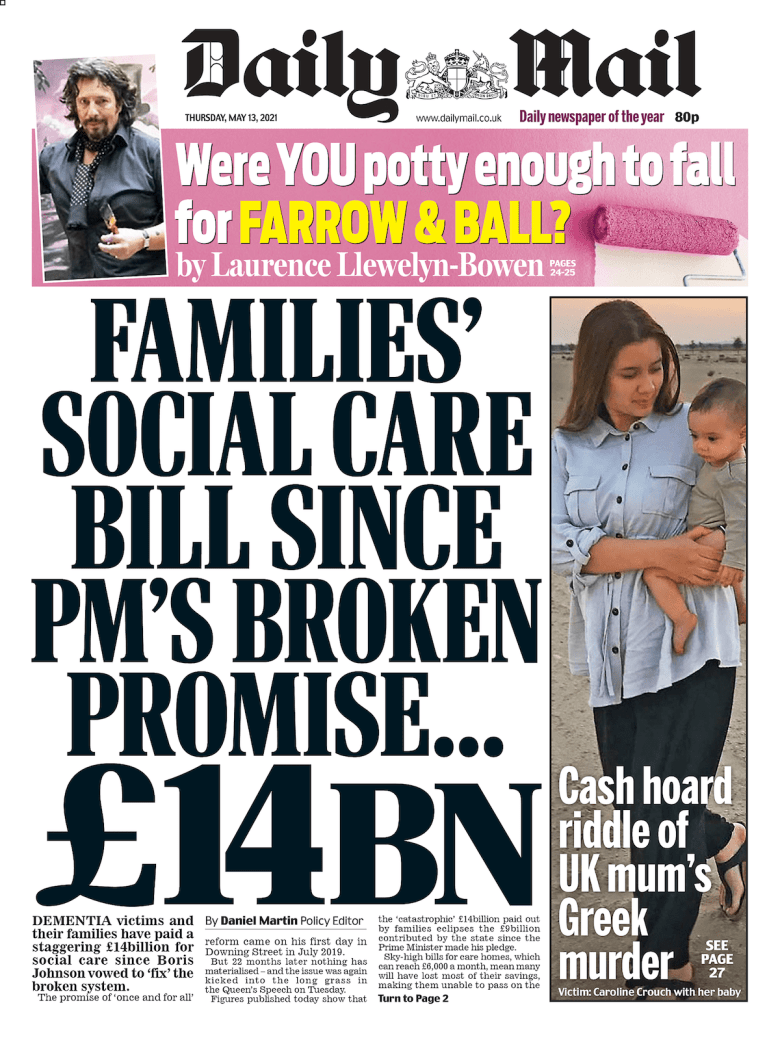 Daily Mail cover for May 13, 2021