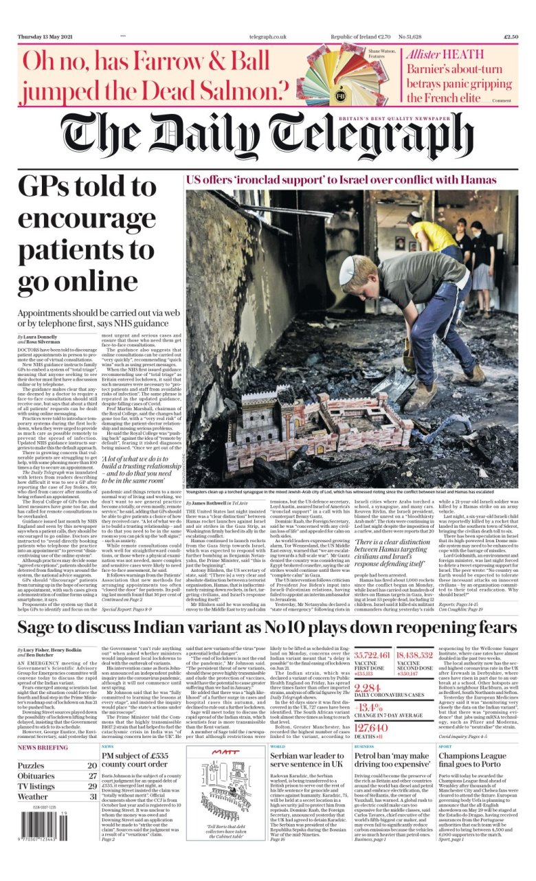 The Telegraph : Front page May 13