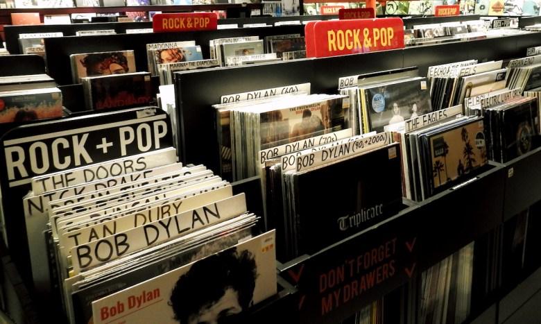 Music Vinyl display in music retail record store in Dublin City Centre. Editorial credit: Derick Hudson / Shutterstock.com